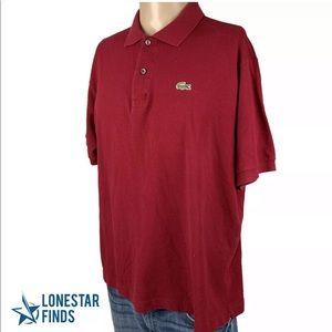 Lacoste Short Sleeve Polo Shirt Sz 7 US Sz XL X26